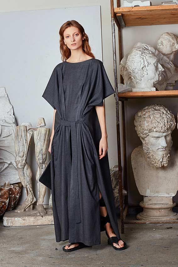 "Minimal layered maxi dress ""Strength"" 1"