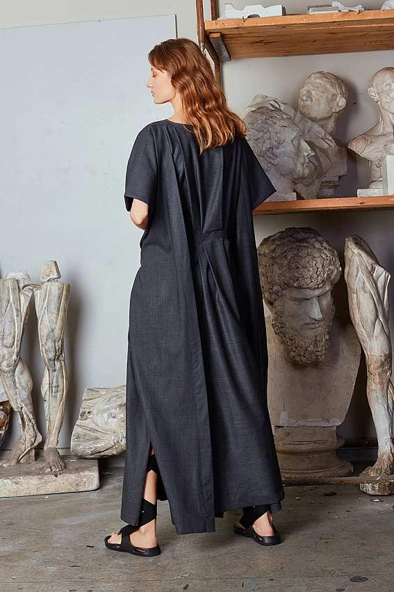 "Minimal layered maxi dress ""Strength"" 2"