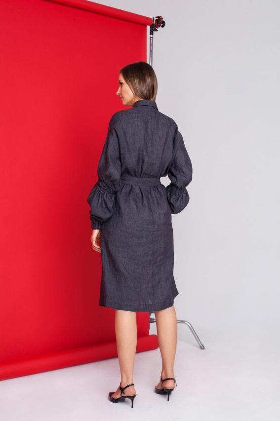 Linen dress long sleeve 2
