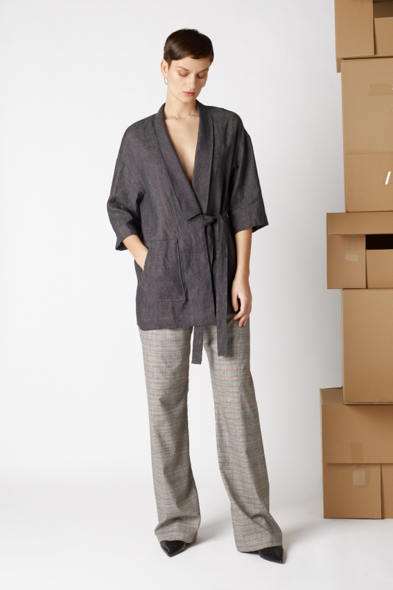 Minimal linen jacket TRAFIC 1