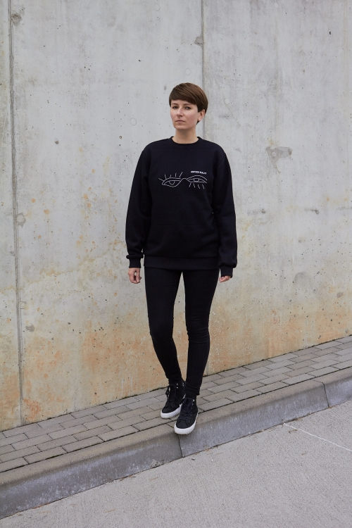 Black cotton unisex sweatshirt