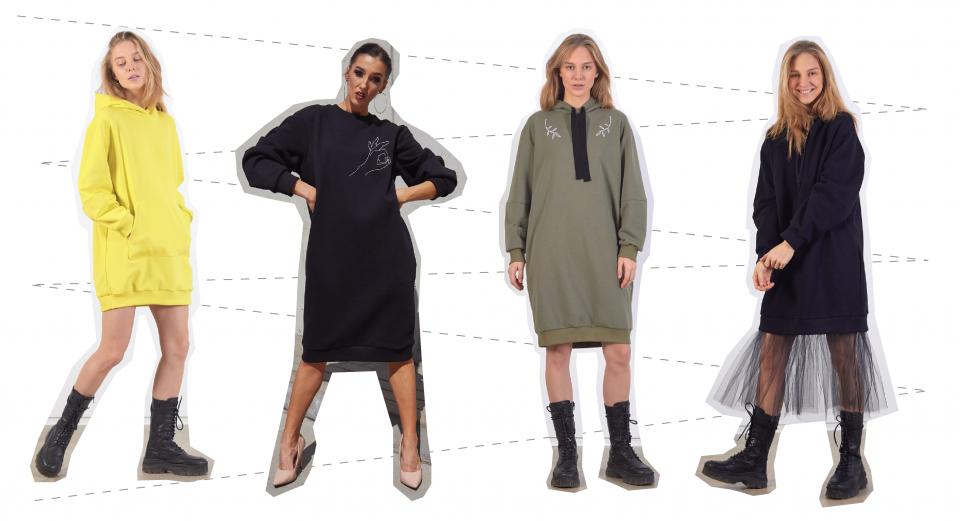 modeliai dėvi džemperio tipo sukneles